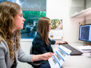 Researchers working at computer in Adair lab