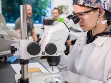 Researcher working in the Adair lab with microscope