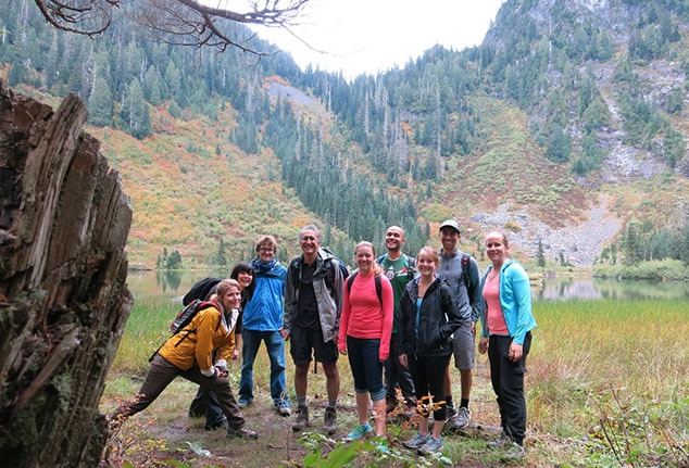 Lab group photo at Heather Lake