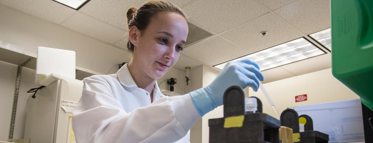Researcher working in J Lee Nelson Lab